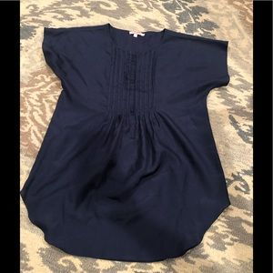 Calypso St Barth Navy Blue 100% Silk Tunic Top